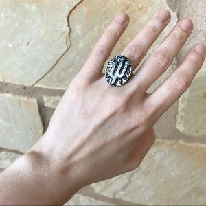 Jewelry - Silver Tone Statement Stretch Cactus Ring M
